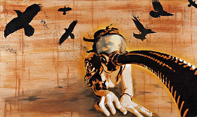 Nudity Mixed Media - Ravens Remain The Harbinger Of Secrets by Tai Taeoalii