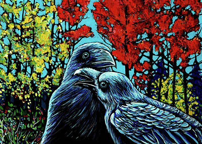 Wall Art - Painting - Ravens Together by Alison Newth