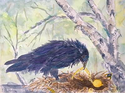 Painting - Ravens Treasures  by Ellen Levinson