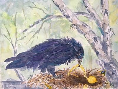 Painting - Ravens Treasures  by Ellen Levinson