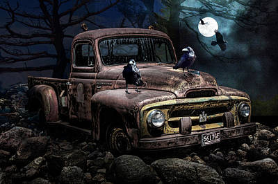Photograph - Ravens With Old Pickup Truck In The Moonlight by Randall Nyhof