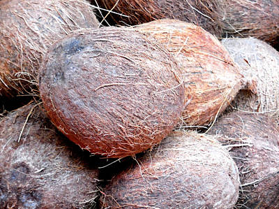 Raw Coconuts In A Supermarket  Art Print by Lanjee Chee