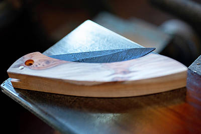 Photograph - Raw Damascene Knife 1 by Jean Gill