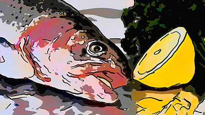 Painting - Raw Fish  Salmon Trout With Lemons by Jeelan Clark