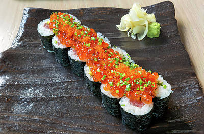 Photograph - Raw Fish Sushi Roll With Egg Roe by Jit Lim