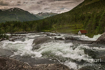 Photograph - raw waterfall in norway near Balestrand by Compuinfoto