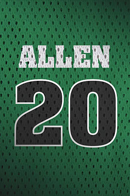 Closeup Mixed Media - Ray Allen Boston Celtics Retro Vintage Jersey Closeup Graphic Design by Design Turnpike