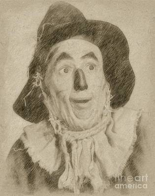 Wizard Drawing - Ray Bolger, Scarecrow, Wizard Of Oz by Frank Falcon