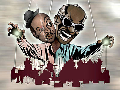 Ray Charles And Count Basie - Reanimated Art Print by Sam Kirk