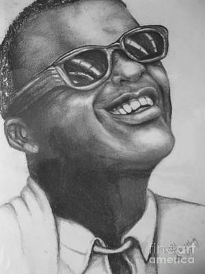 Musicians Drawings - Ray Charles by Angie Sellars