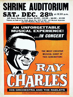 Charles Digital Art - Ray Charles At The Shrine Auditorium Poster by Bill Cannon