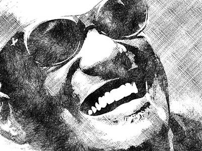 Drawing - Ray Charles Bw Portrait by Mihaela Pater