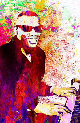 Jazzman Digital Art - Ray Charles by Elena Kosvincheva