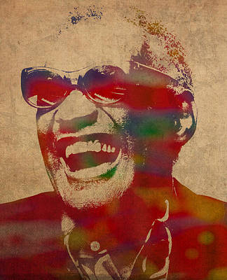 Ray Charles Watercolor Portrait On Worn Distressed Canvas Art Print