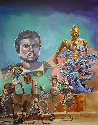 Painting - Ray Harryhausen Tribute Jason And The Argonauts by Bryan Bustard
