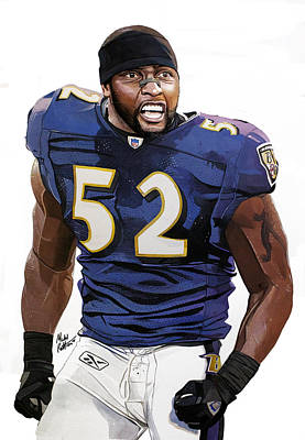 Autographed Painting - Ray Lewis Baltimore Ravens by Michael  Pattison