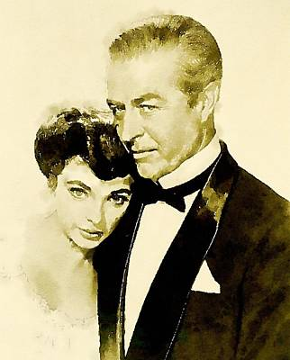 Rays Painting - Ray Milland And Joan Collins by John Springfield