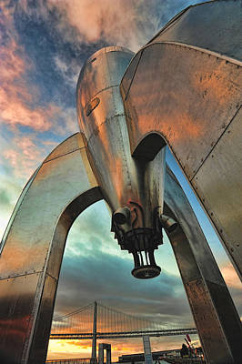 Art Print featuring the photograph Raygun Gothic Rocketship Blast-off by Steve Siri