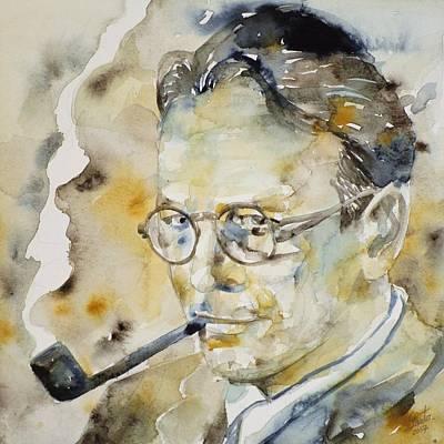 Raymond Painting - Raymond Chandler - Watercolor Portrait.2 by Fabrizio Cassetta