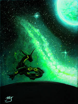Rayquaza In The Dark Sky Painting Original