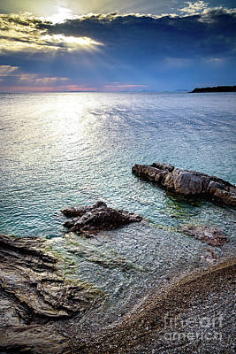 Photograph - Rays Of Sunset On Turquoise Dalmatian Coast Water, Primosten, Croatia by Global Light Photography - Nicole Leffer