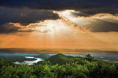 Photograph - Rays Over Blue Ridge by Debra and Dave Vanderlaan