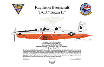 Digital Art - Raytheon Beechcraft T-6b Texan II Ensign Snyder by Arthur Eggers