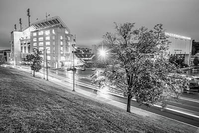 Photograph - Razorback Stadium In Black And White - Fayetteville Arkansas by Gregory Ballos