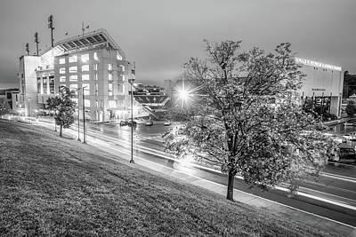 Razorback Photograph - Razorback Stadium In Black And White - Fayetteville Arkansas by Gregory Ballos