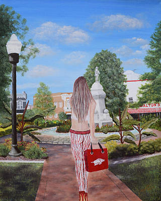 University Of Arkansas Painting - Razorback Swagger At Bentonville Square by Belinda Nagy