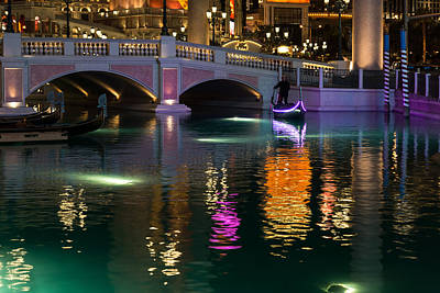 Viva Las Vegas Photograph - Razzle Dazzle - Colorful Neon Lights Up Canals And Gondolas At The Venetian Las Vegas by Georgia Mizuleva