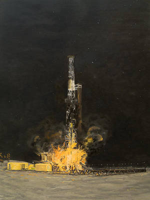 Oil Rig Painting - Rbc Wild Well Control Red Boots Coots by Galen Cox