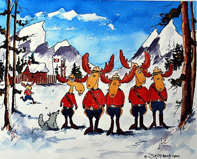 Rcmp  Detachment At Fort Macmoose  Art Print by Wilfred McOstrich