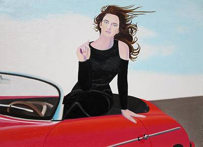 Re-created Girl In Porsche 356 Original by Robert Lee