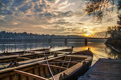 Washingtons Crossing Photograph - Re-enactment Boats At Washingtons Crossing At Sunrise by Bill Cannon