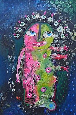 Primitive Raw Art Painting - Reach by Bea Roberts