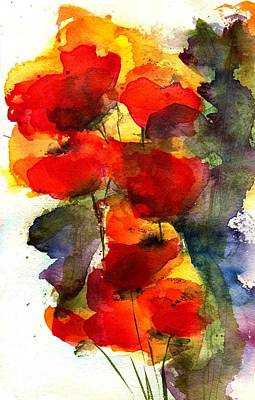 Floral Watercolor Painting - Reaching by Anne Duke