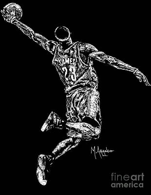 Lebron Drawing - Reaching For Greatness #23 by Maria Arango