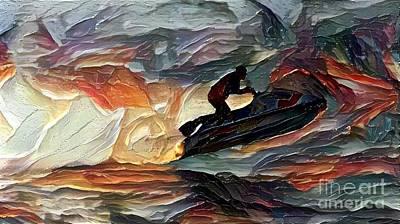 Jet Ski Painting - Reaching High by Douglas Sacha