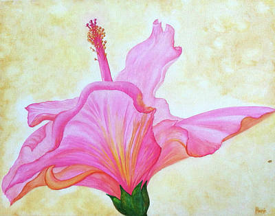 Painting - Reaching Pink Hibiscus by Kathryn Rone