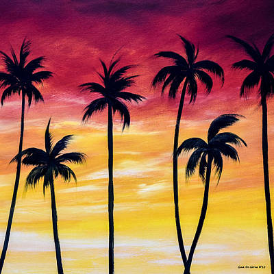 Painting - Reaching - Square Sunset by Gina De Gorna