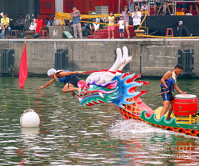 Photograph - Reaching The Finishing Line In The Dragon Boat Races by Yali Shi