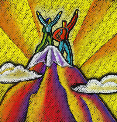 Reaching The Mountain Top  Art Print by Leon Zernitsky