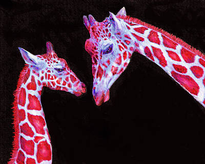 Read And Black Giraffes Art Print by Jane Schnetlage