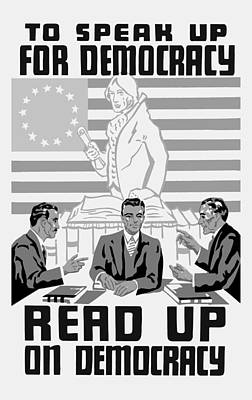 Read Up On Democracy - Vintage Wpa Art Print by War Is Hell Store