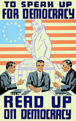 Library Digital Art - Read Up On Democracy W P A ......... C. 1936 by Daniel Hagerman