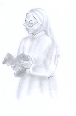 Painting - Reading African Nun by Emmanuel Baliyanga