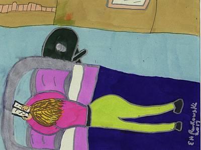 Lying Mixed Media - Reading And Relaxing by Elinor Rakowski