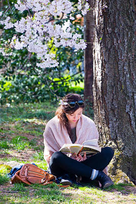 Photograph - Reading Beneath The Cherry Blossoms by SR Green