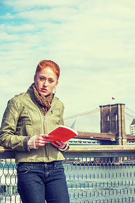 Photograph - Reading Book Outside In New York by Alexander Image